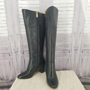 Anne Klein 9 M Boots Leather Black heel tall EUC